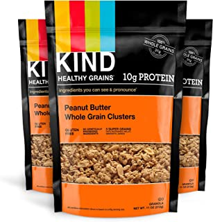KIND Healthy Grains Clusters, Peanut Butter Whole Grain Granola, 10g Protein, Gluten Free, 11 Ounce Bags, Pack of 3