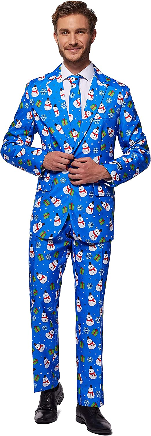 SUITMEISTER Christmas Suits for Men in Different Prints – Ugly Xmas Sweater Costumes Include Jacket Pants & Tie