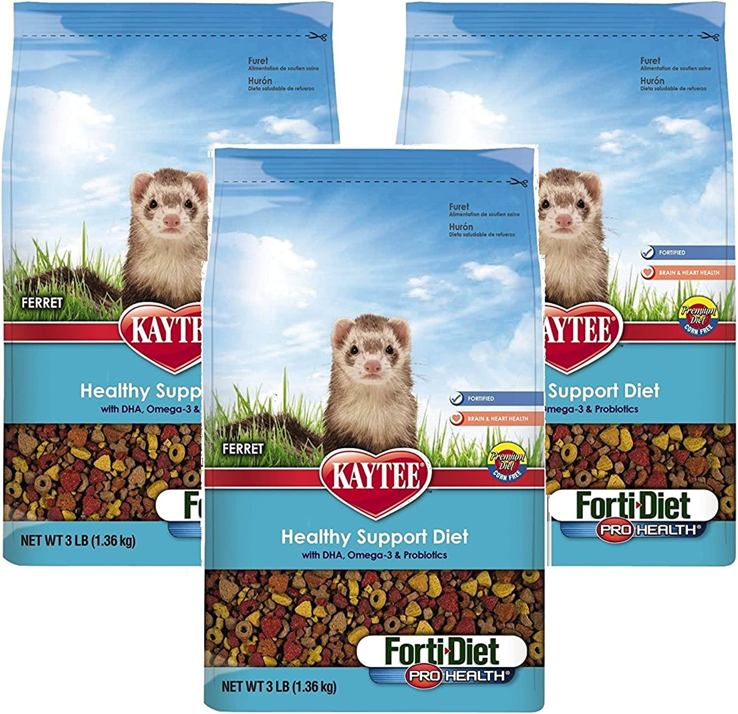 (3 Pack) Kaytee Forti Diet Pro Health Small Animal Food for Ferrets, 3Pound