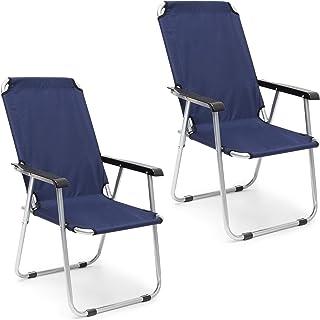 Relaxdays Campingstuhl Juego de 2 sillas Plegables para balcón con reposabrazos, para jardín, con Respaldo Alto, 91 x 53,5 x 75 cm, Color Azul Oscuro