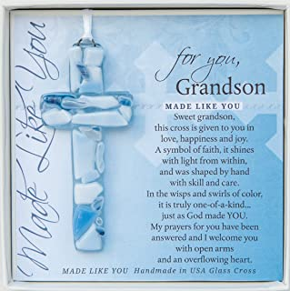 Handmade Glass Cross With Loving Sentiments Perfect Christian Gift For Grandson On Birth Baptism Confirmation Christening