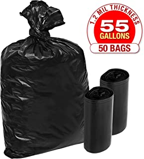 1.2 Mil Plastic Garbage Bags - 50 Pack Heavy Duty Black Trash and Storage Bags - 55 Gallon, Super Thick Industrial Grade for Construction, Outdoor Yard Work, Commercial Use - by Tougher Goods