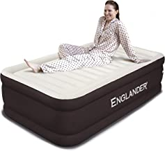 Englander Twin Size Air Mattress w/ Built in Pump - Luxury Double High Inflatable Bed for Home, Travel & Camping - Premium Blow Up Bed for Kids & Adults - Brown