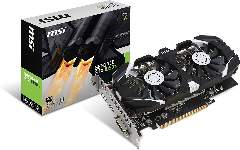 MSI Gaming GeForce GTX 1050 Ti 4GB GDRR5 128-bit HDCP Support DirectX 12 Dual Fan OC Graphics Card (GTX 1050 TI 4GT OC) (Renewed)