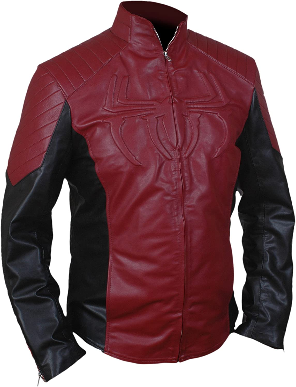 Flesh & Hide F&H Men's Superhero Amazing Spider Maroon & Black Genuine Leather Jacket
