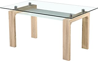 Amazon.es: mesas comedor madera y cristal - 1 estrella y más