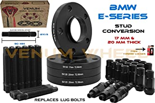 Complete Set Of Black Staggered Wheel Spacers 17mm + 20 mm Thick & 12x1.5 Black Racing Stud Conversion Kit Fits BMW3 Series E46-323ci, 323i, 325ci, 325i, 325xi, 3328ci, 328i, 330ci, 330xi, M3