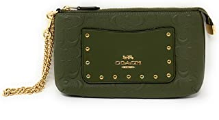 COACH WOMENS LARGE RVT WRISTLET WITH CHAIN IN SIGNATURE LEATHER F76763 MILITARY GREEN/GOLD