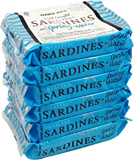 Unsalted Sardines in Spring Water, (Pack of 6), 3.75 oz Tin - Trader Joe's