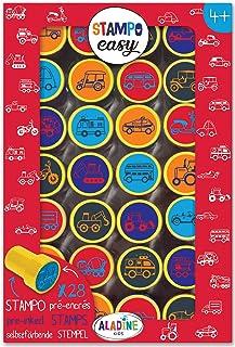 Aladine - Stampo Easy Voitures - Kit de Tampons Pré-encrés Couleur - Jouets et Jeux Créatifs - Boîte de 28 Tampons Encrés...