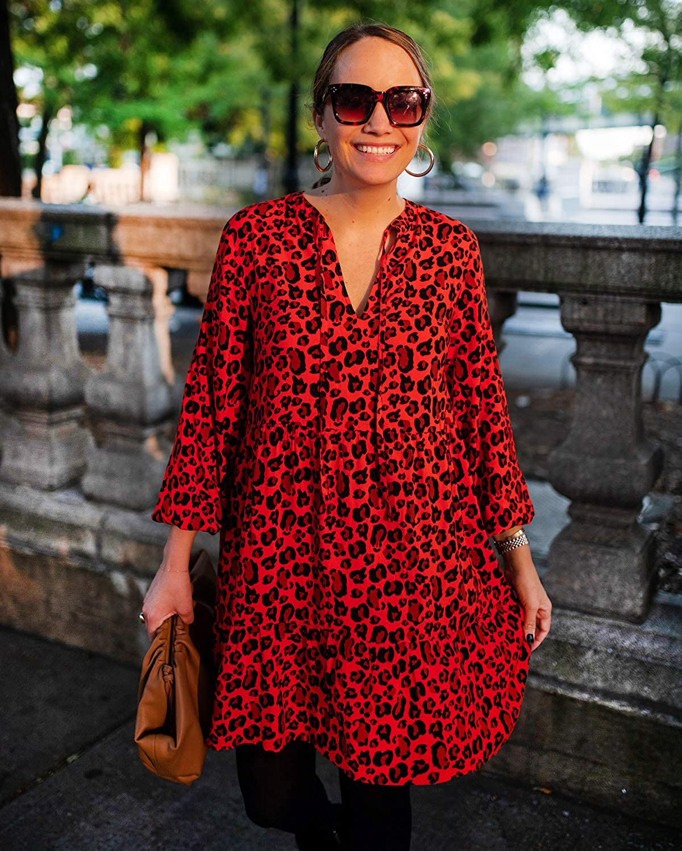 The Drop Women's Loose-Fit Fiery Orange Animal Print Tiered Dress by @graceatwood