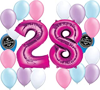 Choose Your Own Age (1-50th) Girls Party Supplies Balloon Decoration Bundle for Any Girls Happy Birthday Theme (28th Birthday)