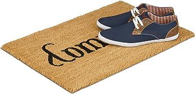 Relaxdays Paillasson en fibres de coco tapis porte entrée Come In/ Go Away double sens dessous antidérapant en caoutchouc PVC