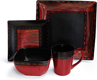 American Atelier 6083-16rd Livingston 16 Piece Square Dinnerware Set, 10.75