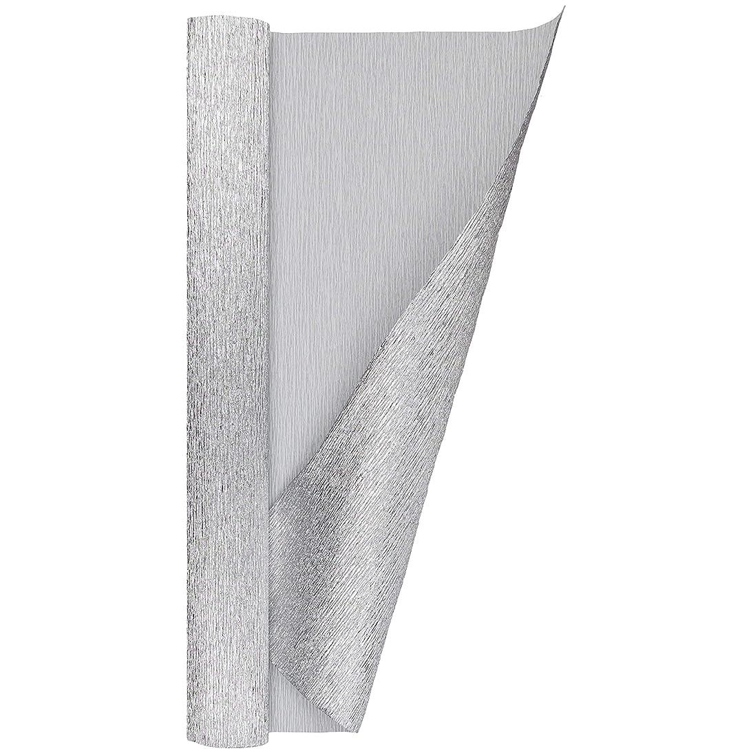 Crepe Paper Roll, Heavy Italian 180 g, 13.3 sqft, Metallic Bicolor Silver & White