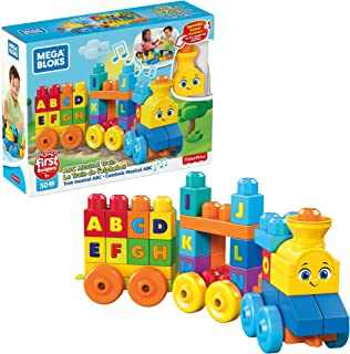 Mega Bloks First Builders ABC Musical Train with Big Building Blocks, Building Toys for Toddlers (50 Pieces) FWK22