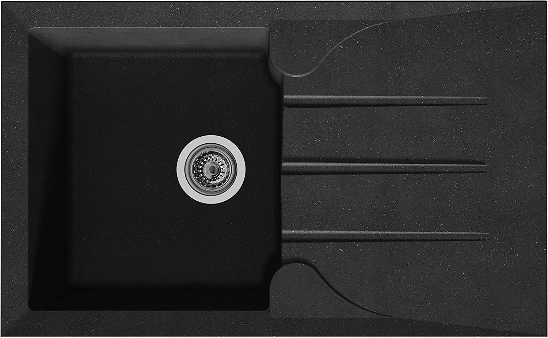 Stradour EEAR081R06N ALOA Built-in Sink - Glitter Black - 06, 81 x 50 cm