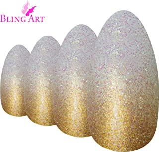 Bling Art Almond False Nails Gold Gel Ombre Stiletto 24 Fake Acrylic Tips
