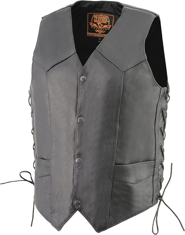 Milwaukee Leather LKM3731 Men's Classic Leather Side Lace Vest w/ Gun Pockets