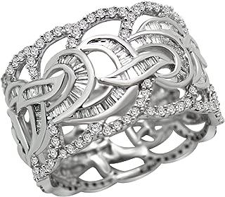 10K Gold Band Round & Baguette Diamond Full Eternity Wedding Ring (1.93Ct)