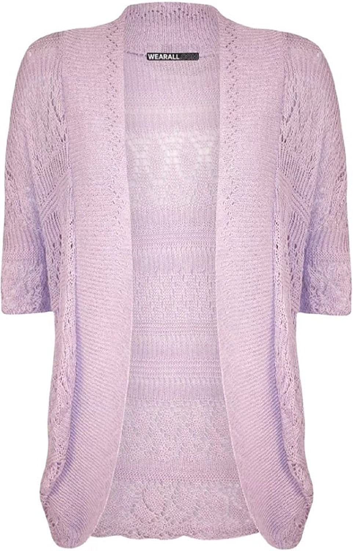 ZJ Clothes Plus Size Womens Crochet Knitted Shrug Cardigan Sweater Bolero Top