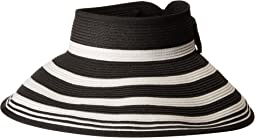 San Diego Hat Company UBV042 Roll Up Visor with Stripe Pattern and Bow Closure