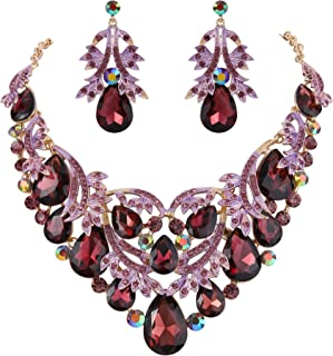Women's Bohemian Boho Crystal Teardrop Filigree Leaf Hollow Statement Necklace Dangle Earrings Set