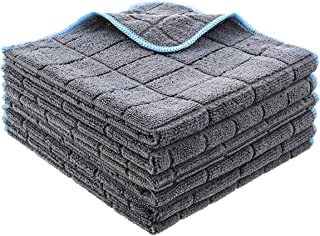 MATCC Microfiber Cleaning Cloths Pack of 6 Super Absorbent Microfiber Car Cleaning Cloth Lint Free Microfiber Towel for Car Washing Waxing Polishing Buffing Drying 16'' x 16''