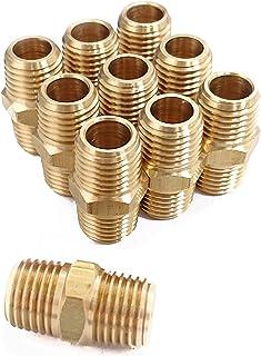 Hex Nipple Coupling Set, 1/4-Inch NPT x 1/4-Inch NPT, Brass Male Pipe (10 Piece)