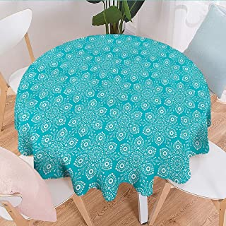 Linhomedecor Tulle Round Tablecloth Turquoise and White,Pointillist Style Flower Petals Australian Aboriginal Folk Art,Turquoise and White Tassel Tablecloth Diameter 50 inch
