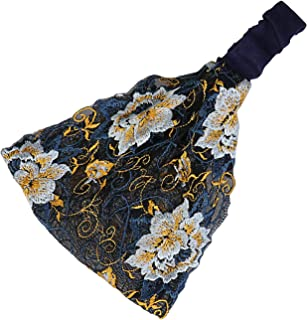 Jixin4you Boho Headbands Lace Head Wraps Wide Bandeau Stretch Turban Hollow Breathable Embroidery Head Scarf Non Slip Hair...