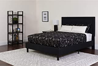 Flash Furniture Roxbury Queen Size Tufted Upholstered Platform Bed in Black Fabric