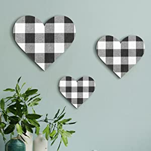 Jetec 3 Pieces Heart Shaped Wood Sign Buffalo Plaid Heart-Shaped Wall Sign Wood Heart Wall Decor Rustic Hanging Sign Wooden Heart Plaque for Home Farmhouse Living Room Bedroom, 3 Sizes