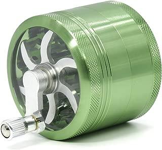 4 Part Aluminum Diameter 63mm Handle Herb Grinder Spice Miller (Green)