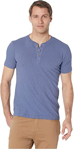 Negative Slub Three-Button Henley