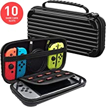 MEQI Nintendo Switch Carrying Case Protective Hard Shell Slim Travel Carry Case -10 Game Cartridge Holders Portable Carry Case Pouch for Nintendo Switch Console & Accessories - Black