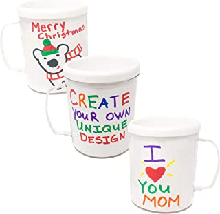 Podzly 12 DIY Mugs Arts and Crafts for Kids - Great Gift for Mom Or Dad