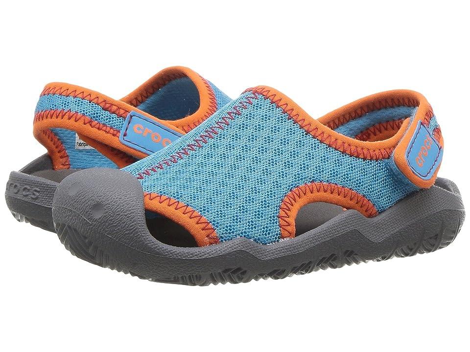 Crocs Kids Swiftwater Sandal (Toddler/Little Kid) (Cerulean Blue/Smoke) Kids Shoes