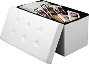 Woltu® # 836 Taburete Reposapiés Baúl Plegable Banco Caja de Almacenaje Acolchada (Piel Sintética, Capacidad de Carga de hasta 300 kg, 76 x 37,5 x 38 cm,Blanco,SH16ws