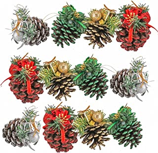 Yarssir Pine Cones - 12pcs Colorful Tipped Natural Large Pinecones with Glitter Snowflakes Christmas Tree Decoration Crafts Home Ornament