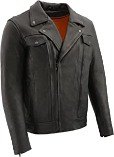 Milwaukee Leather Men's Pistol Pete Double Side Premium Jacket (Black, 2X-Tall)