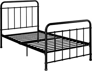 """DHP Brooklyn Metal Iron Bed w/ Headboard and Footboard, Adjustable height (7"""" or 11"""" clearance for storage), Sturdy Slats Included, No Box Spring Required, Twin Size Mattress, Black"""