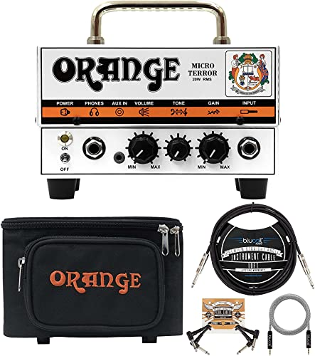 lowest Orange popular Amps Micro Terror 20W Guitar Amplifier Head new arrival Bundle with Vinyl Travel Bag, Blucoil 10-FT Straight Instrument Cable (1/4in), 5-FT Audio Aux Cable, and 2-Pack of Pedal Patch Cables outlet sale