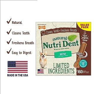 Nutri Dent Limited Ingredient Dental Dog Chews | Mini Size | Filet Mignon or Fresh Breath Flavors