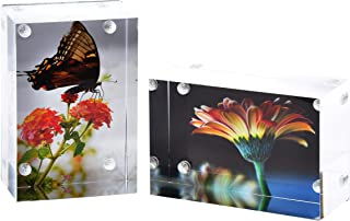 2-Pk Wallet Photo Sized Magnetic Photo Frame: Elegantly Display Wallet-Sized Photos in Home/Office – Magnetic Picture Frames for 2x3 Photos with Clear Acrylic and Metal Backing – 3cm Thick