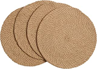 SHACOS Round Braided Placemats Set of 4 Natural Jute Handmade 12 inch Heat Resistant Thick Hot Pads Mats Trivet (Jute Brown, 12 Inch)