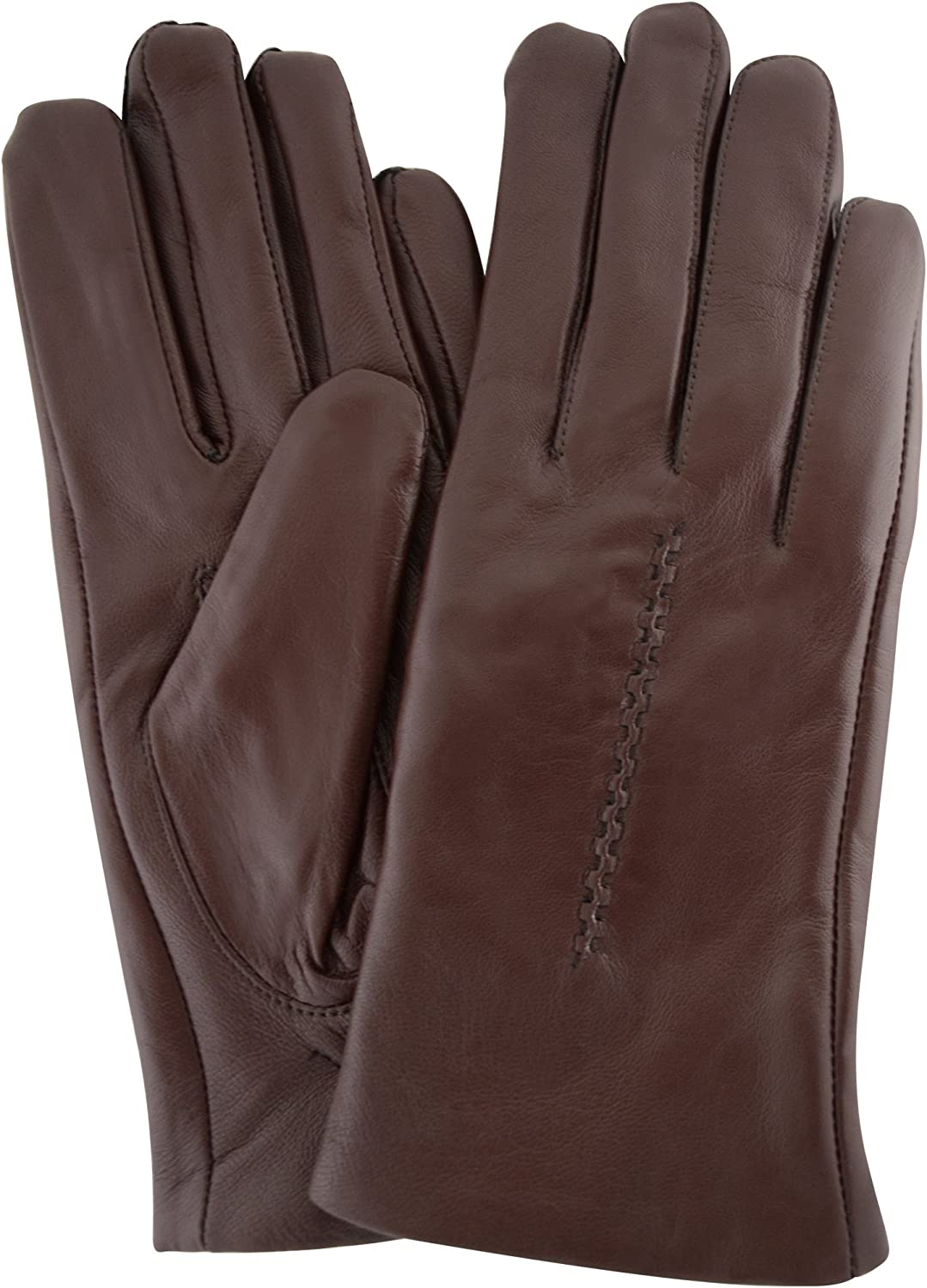 Ladies Butter Soft Leather Glove with Woven Stitch Design & Warm Fleece Lining
