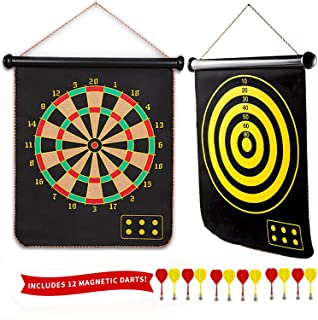 BOBOSOW Magnetic Dartboard Set - 15 Inch Dart Board with 12 Magnet Darts for Kids and Adults, Gift for Game Room, Office, Indoor, Outdoor,Man Cave and Home, Include 12pcs Dart Flights