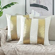 """NordECO HOME Cover Pillowcase Decorative Throw Pillows Covers, No Pillow Insert, 18"""" x 18"""" Inch, White, 2 Pack"""