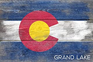 Grand Lake, Colorado - Rustic State Flag (16x24 Giclee Gallery Print, Wall Decor Travel Poster)